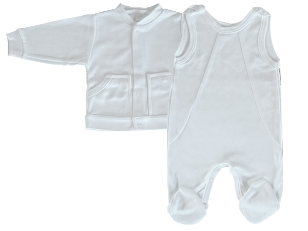 dbca860dbd Pamut 2részes rugdalózó – fehér, fiú – Nicol Gyermekruha