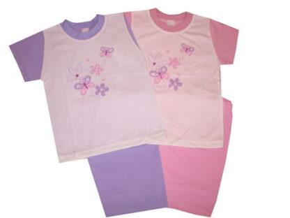 Nyári pamut lányka pizsama - Pillangós