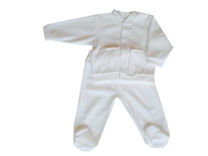Keresztelőruha - 2részes, talpas, hímzett