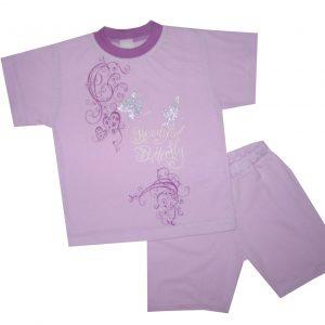 Nyári pamut lány pizsama - lepkés