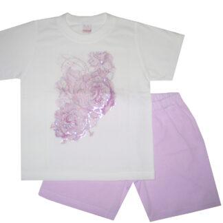 Nyári pamut lány pizsama - rózsa